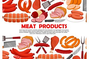 Vector poster of fresh meat products