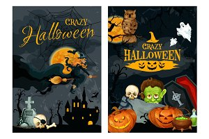Halloween poster with pumpkin, ghost and witch
