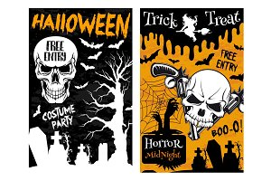 Halloween monster night party vector skull poster