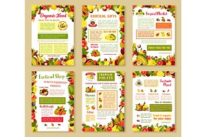 Vector posters set of tropical exotic fruits