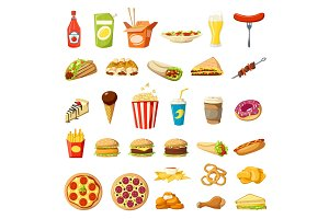 Vector Fast food icons isolated burgers sandwiches