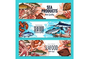Vector sketch banners for seafood fish food market