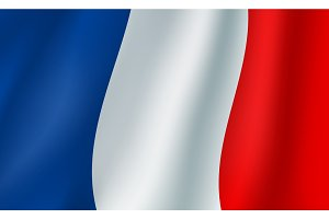 Vector 3D flag of France. French national symbol