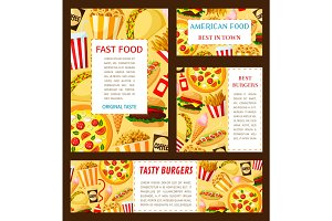 Vector fast food restaurant posters templates