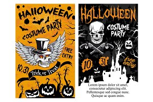Halloween party vector trick ot treat night poster