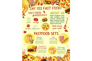 Fast food restaurant snacks vector menu template