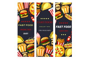 Vector fast food restaurant banners set