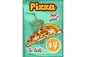Fast food pizza menu vector sketch poster