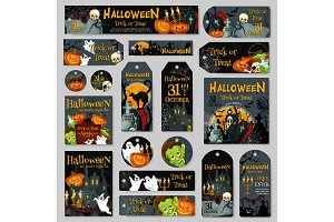 Halloween pumpkin and ghost label or tag design