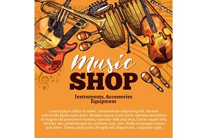 Vector music shop sketch of musical instruments