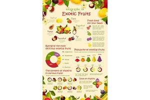 Vector infographics poster tropical exotic fruits