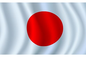 Vector 3D flag of Japan. Japanese national symbol