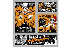 Halloween horror skull poster, night party design