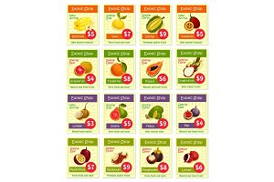 Vector price cards for tropical exotic fruits