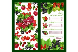 Vector price list for fresh garden berries market
