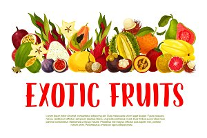 Vector poster for tropical exotic fruits