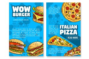 Vector fast food restaurant burger sketch poster