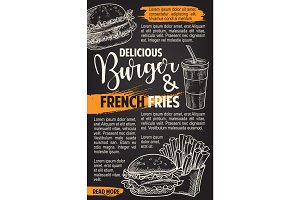Fast food vector burgers menu sketch poster