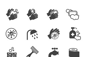 Hygiene icon set
