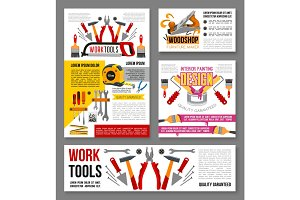 Vector posters of home repair handyman work tools
