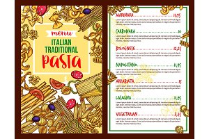 Pasta Italian restaurant vector menu template