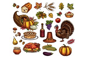 Thanksgiving day isolated vector icons set