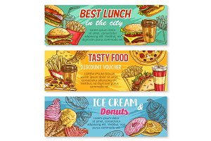 Vector sketch banner fast food restaurant menu