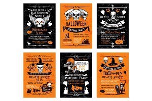 Halloween vector posters for holiday horror party