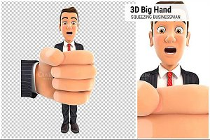 3D Big Hand Squeezing Businessman