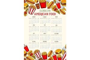 Vector fast food calendar 2018 template sketch