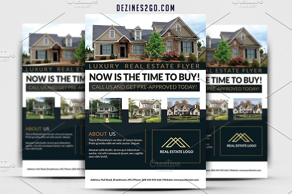 Luxury Real Estate Flyer Flyer Templates Creative Market