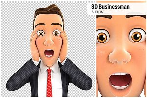 3D Businessman Surprise Expression
