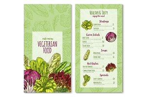 Vector vegetairan cafe menu sketch salad vegetables