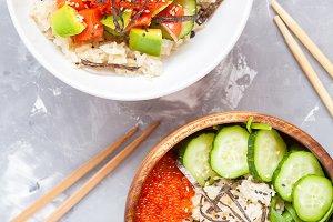 Hawaiian fish poke bowls