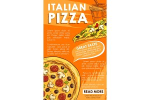 Vector poster of Iltalian pizza sketch fast food