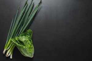 Green spring onions with napa