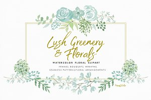 Watercolor Greenery & Floral Clipart