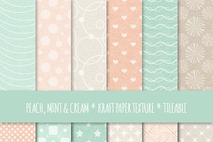 Peach & Mint Seamless Patterns