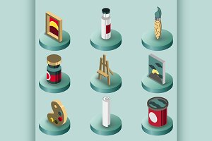 Art color isometric icons set