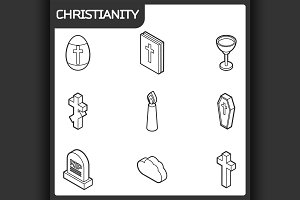 Christianity outline isometric icons