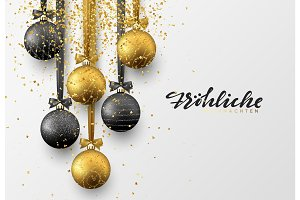 German Frohliche Weihnachten. Christmas greeting card, design of xmas balls with golden glitter confetti