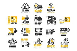 Delivery set for label design. Express delivery service vector Illustrations