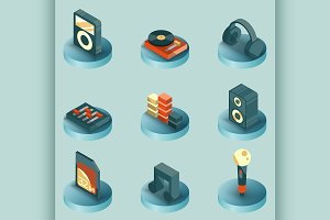 DJ color isometric icons