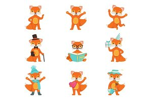 Cute little fox cartoon characters set for label design. Colorful detailed vector Illustrations