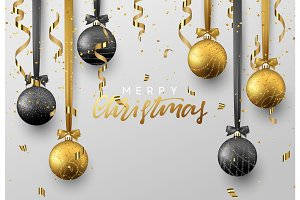 Christmas background with shining gold and black ball, serpentine and confetti.