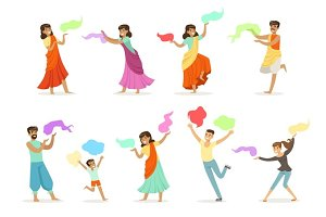 Smiling people dancing in national Indian costumes set for label design. Indian dance, Asian culture, cartoon detailed colorful Illustrations