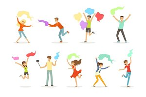 Smiling people dancing with shawl set for label design. Cartoon detailed colorful Illustrations