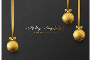 Christmas background with shining gold ball.