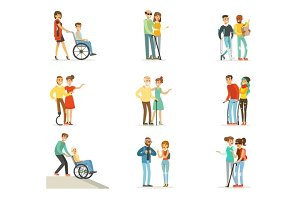 Help and care for disabled people set for label design. Cartoon detailed colorful Illustrations