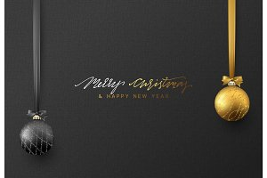Christmas background with shining gold and black ball.